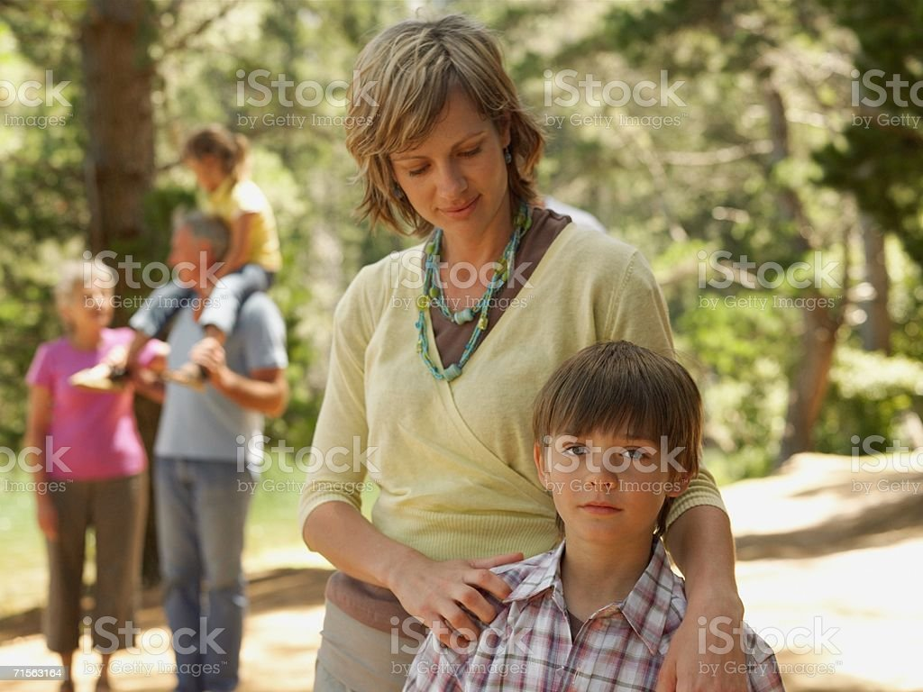 Family in a forest royalty-free stock photo