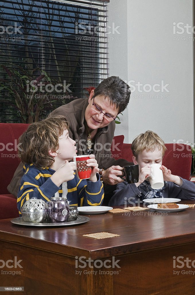 Family in a livingroom royalty-free stock photo