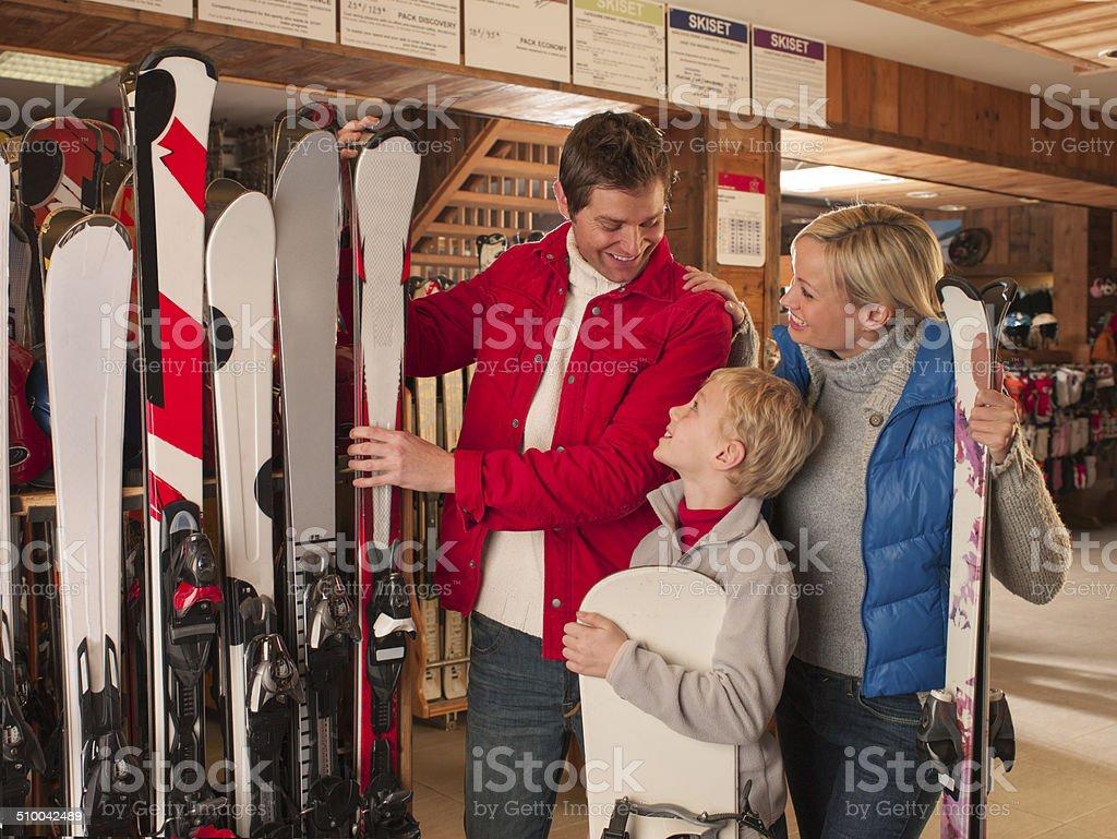 Family in a Ski Shop stock photo