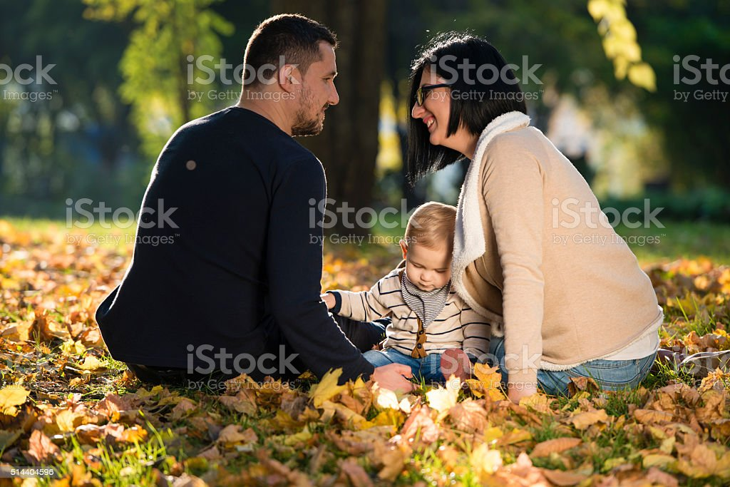 Family in autumn colors stock photo