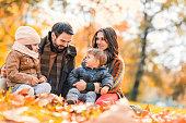 Family in autumn.