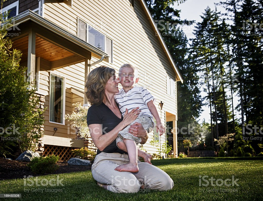 Family in backyard summertime royalty-free stock photo