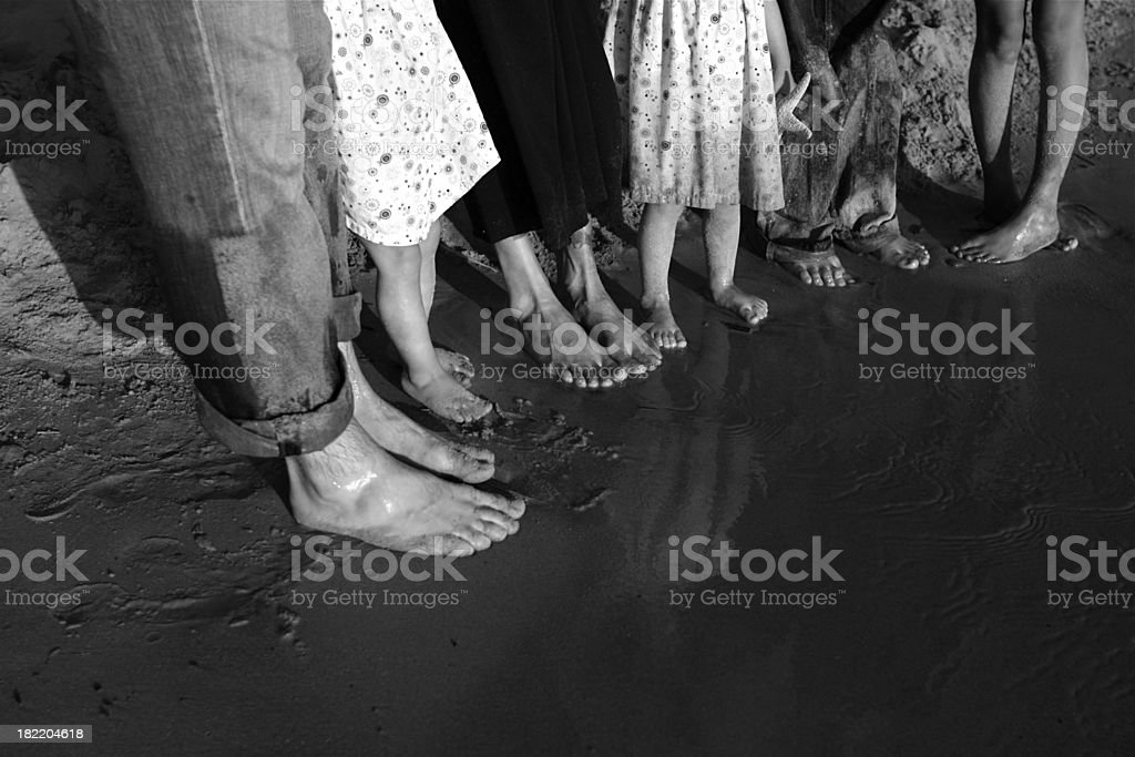 Family in Bare Feet at the Beach stock photo