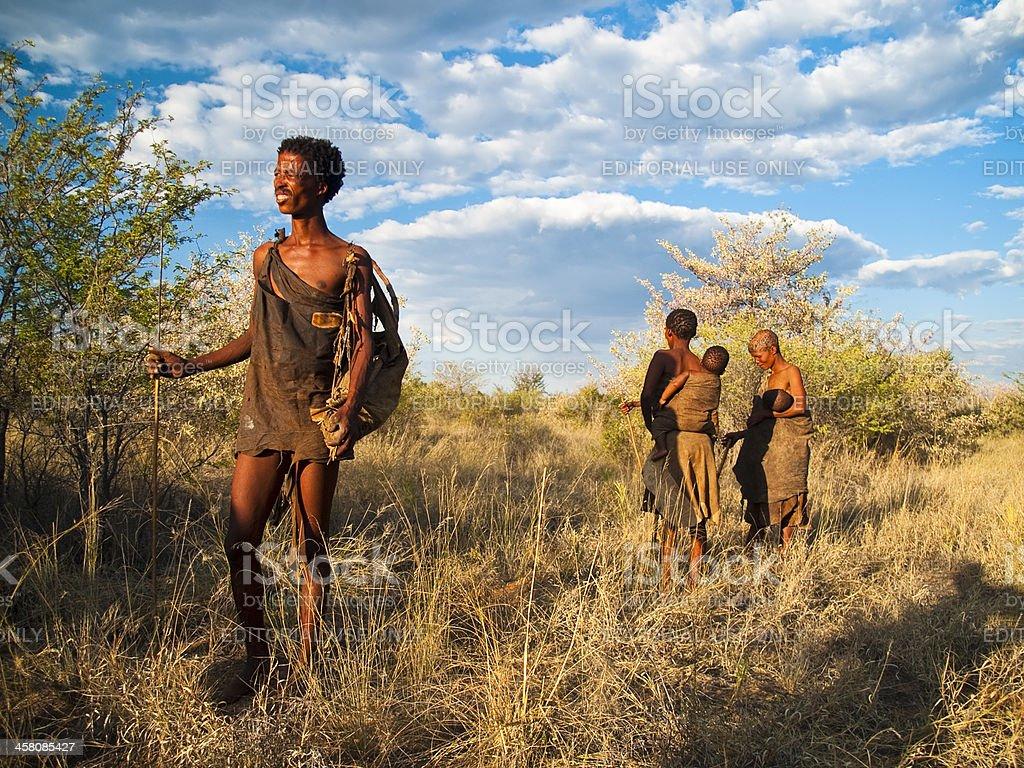 Family in bush stock photo