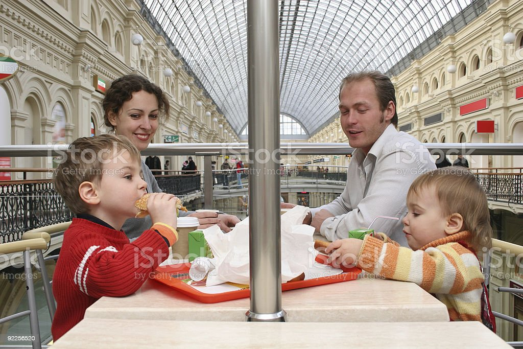 family in cafe. big shop royalty-free stock photo