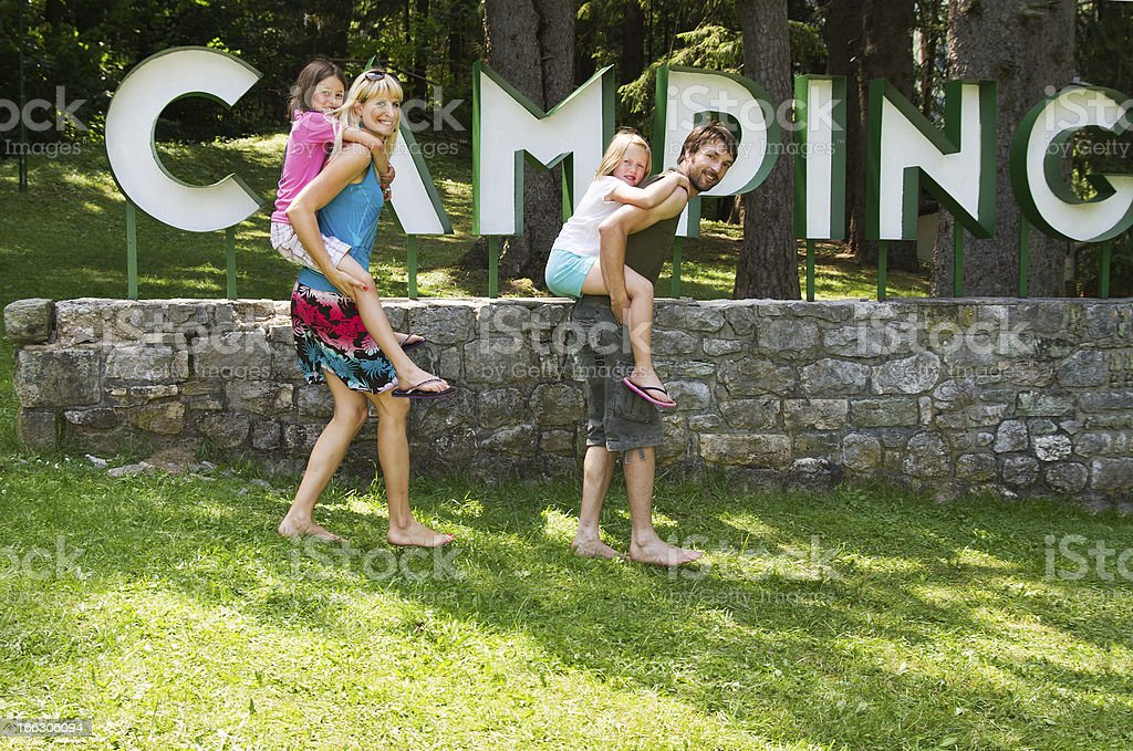 Family in camp stock photo