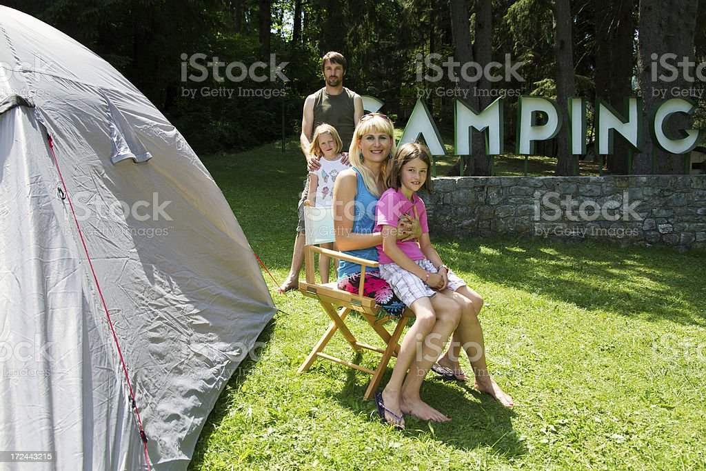 Family in camp royalty-free stock photo