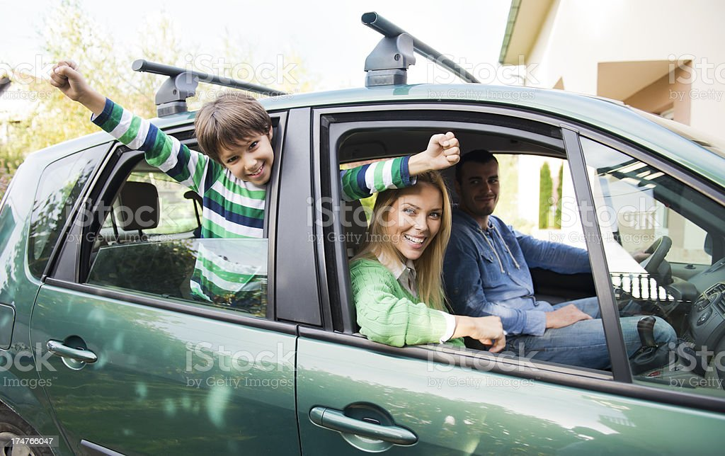 Family with one child going on road trip