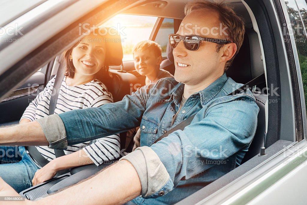 Family in car stock photo