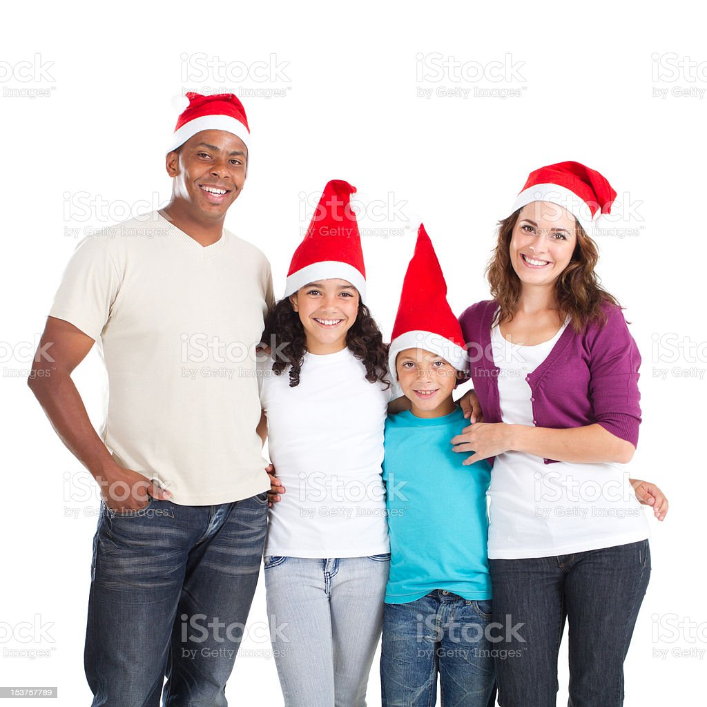Family in Christmas hats royalty-free stock photo