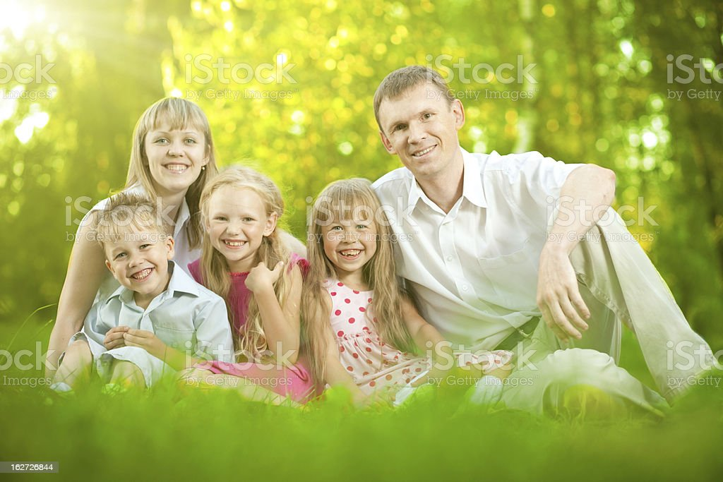 Family in forest royalty-free stock photo