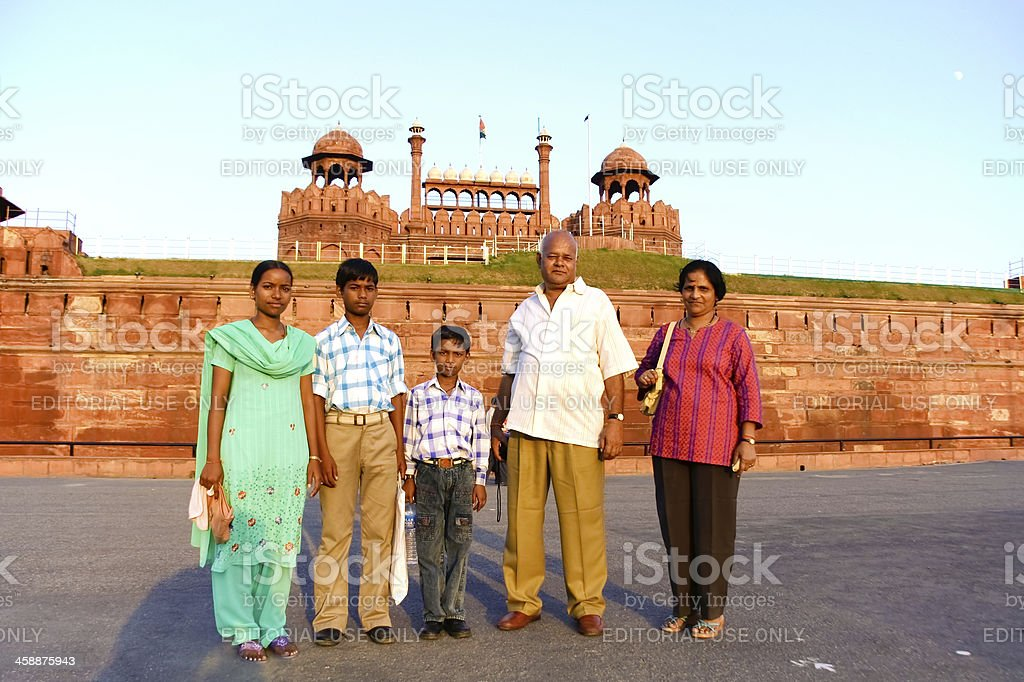 Family in front of fort royalty-free stock photo