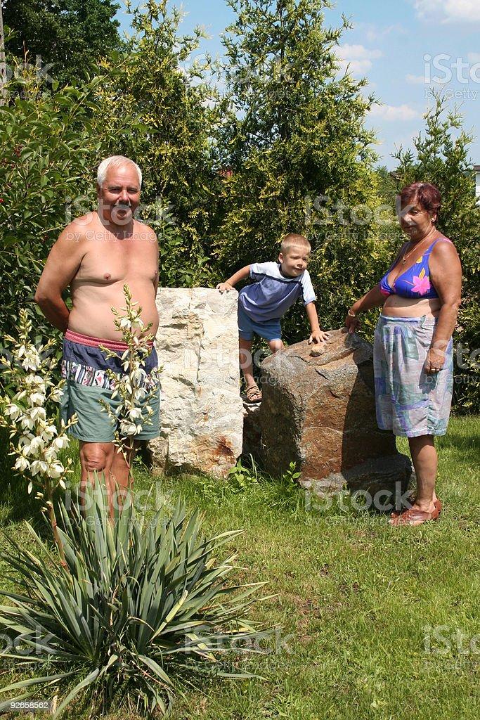 Family in garden stock photo