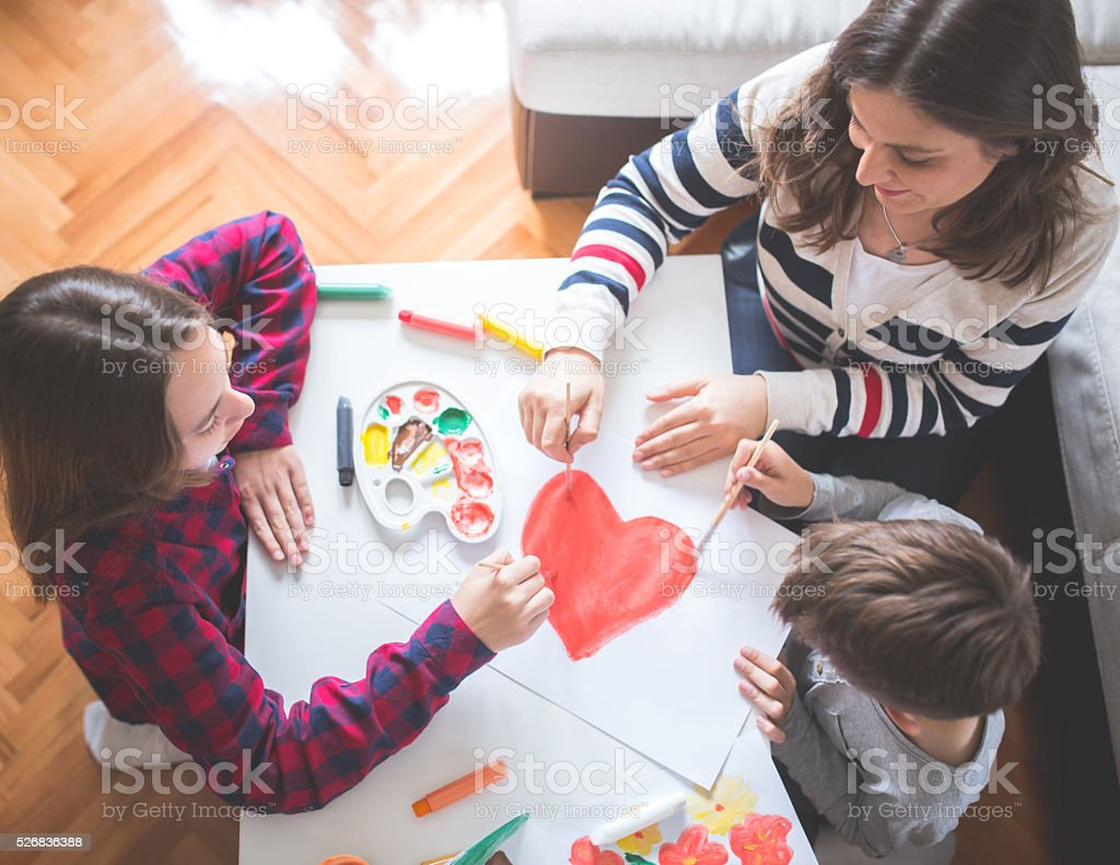 Family in heart stock photo