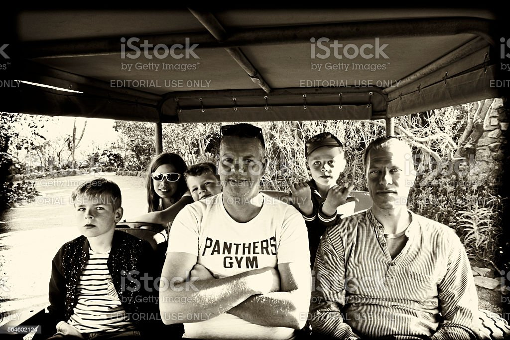 Family in jeep during safari,Waterberg,Limpopo province,South Africa stock photo