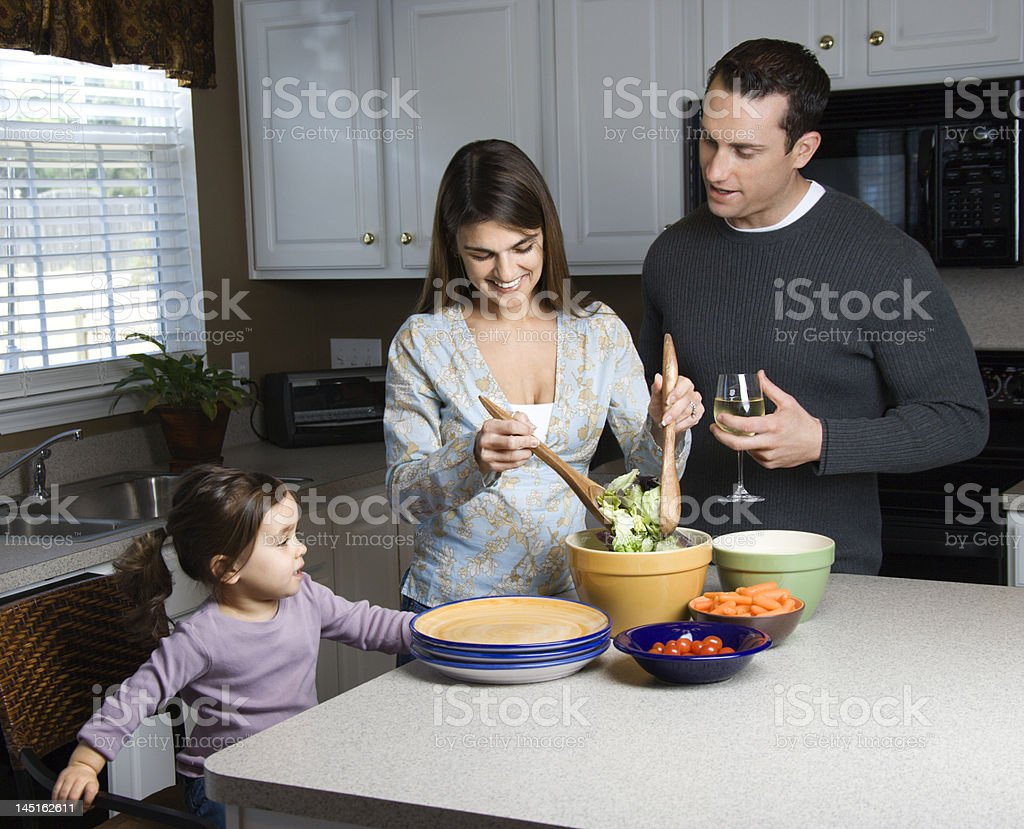 Family in kitchen. royalty-free stock photo