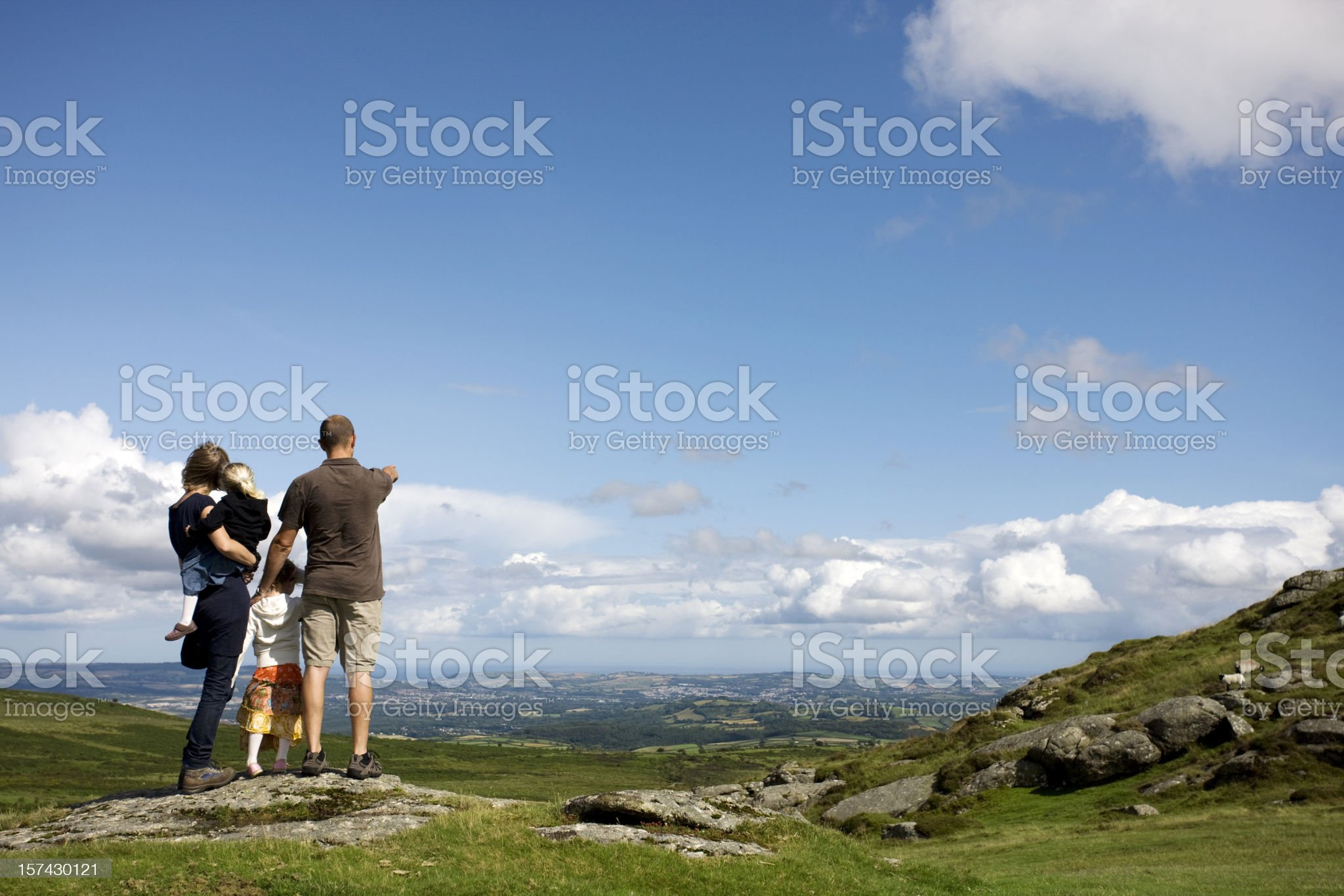 Family in moorland royalty-free stock photo