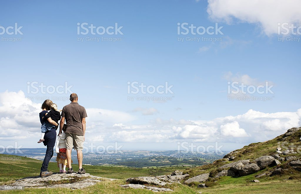 Family in moorland stock photo