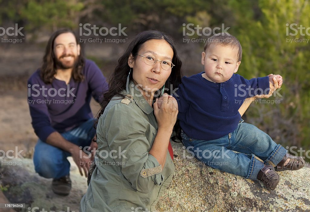 Family in nature stock photo