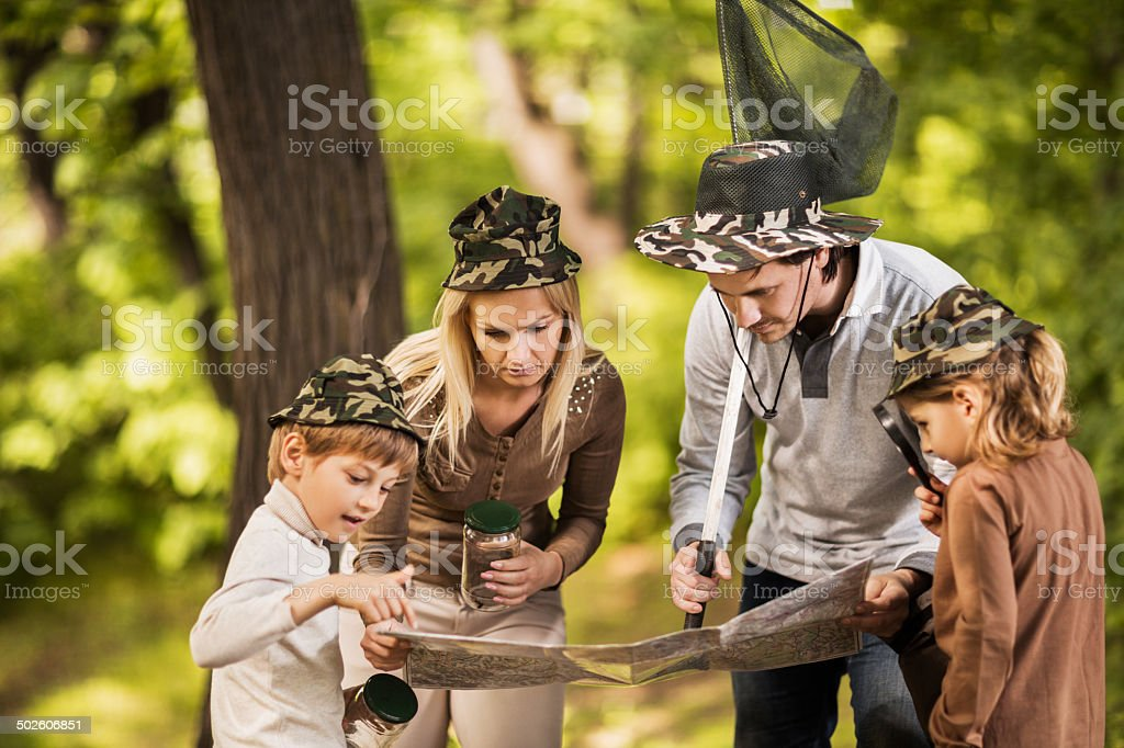 Family in nature. stock photo