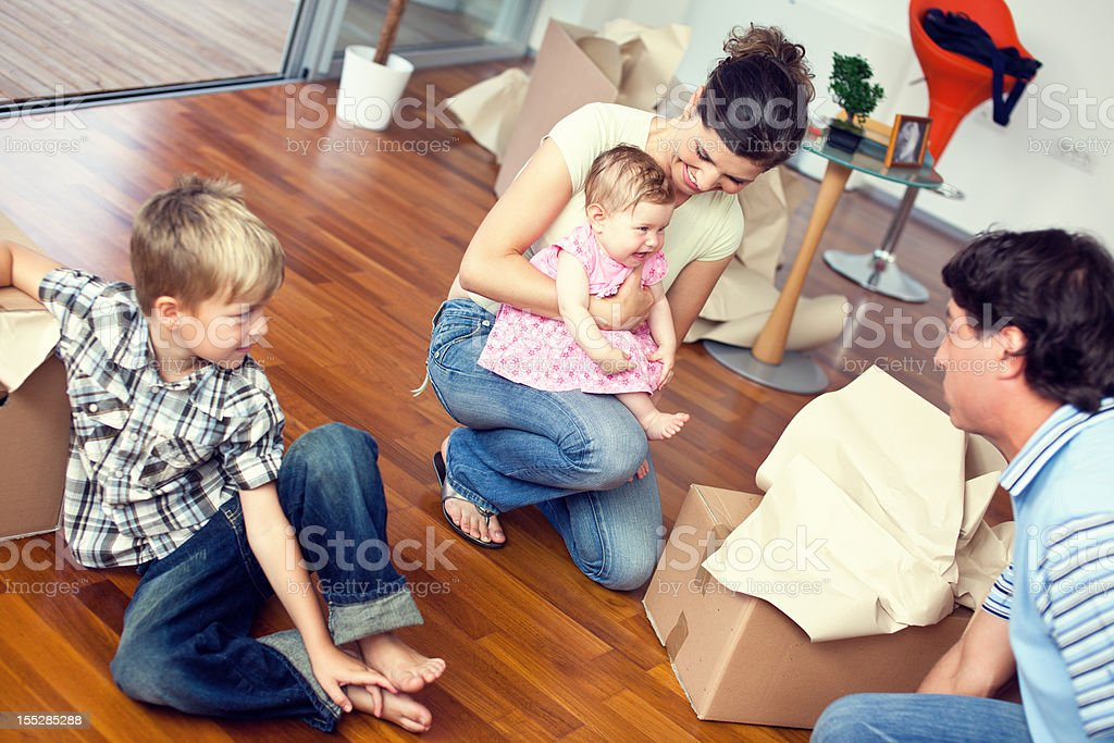 Family in new apartment royalty-free stock photo
