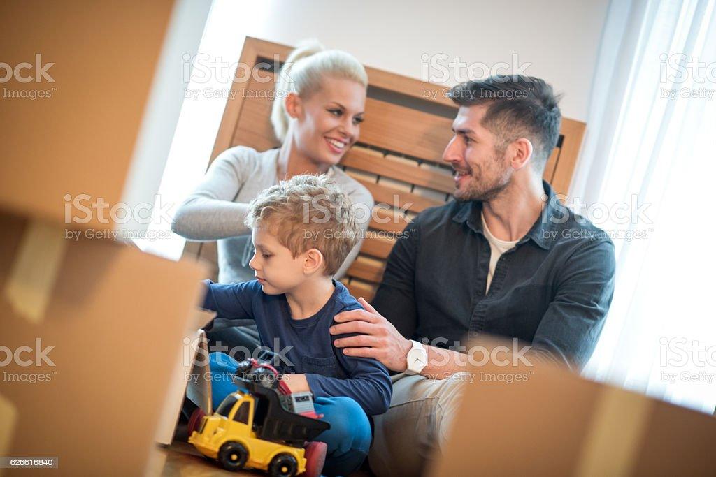 Family in new home stock photo