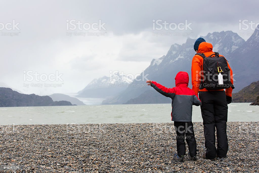 family in patagonia stock photo