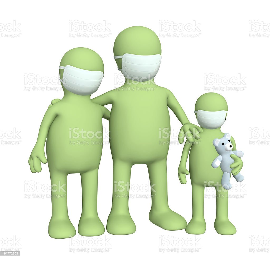 Family in protective masks royalty-free stock photo