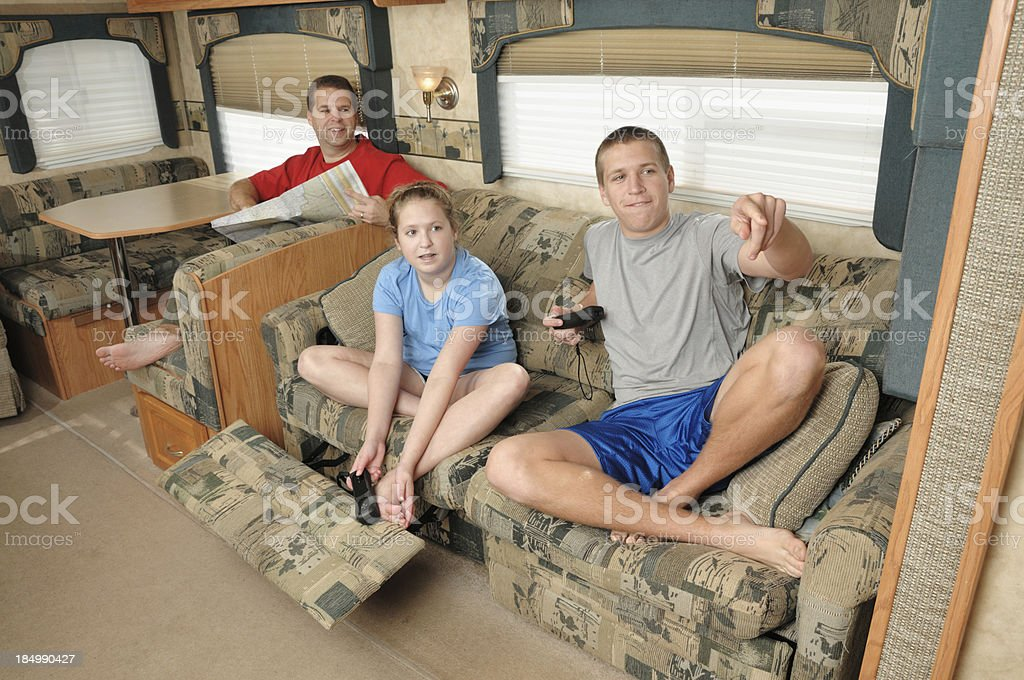Family in RV royalty-free stock photo