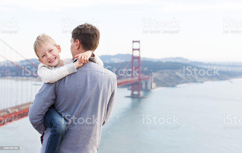 family in san francisco stock photo