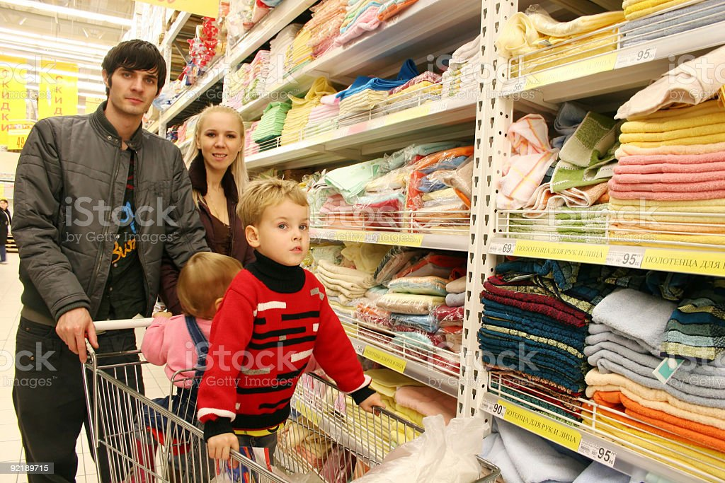 family in shop stock photo
