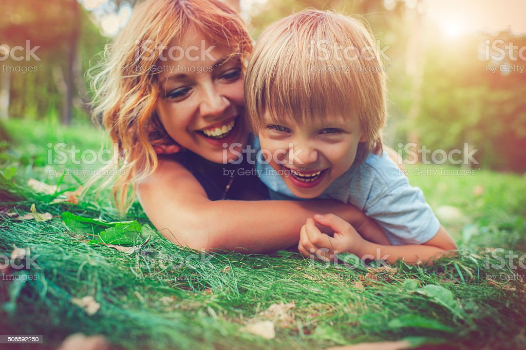 Family in summer stock photo