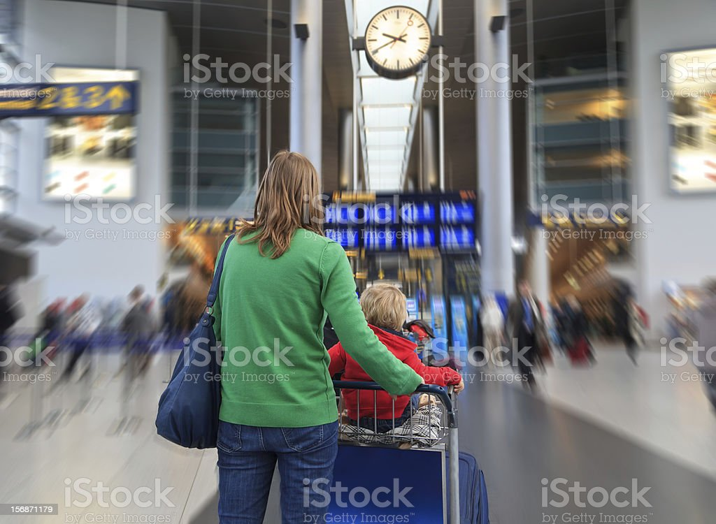 Family in the airport royalty-free stock photo