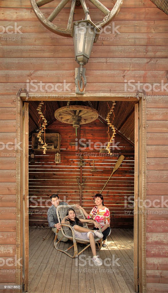 Family in the barn royalty-free stock photo