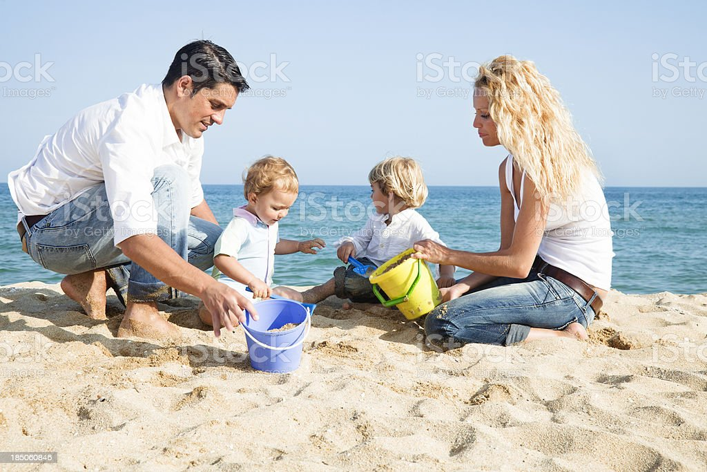 Family in the beach royalty-free stock photo