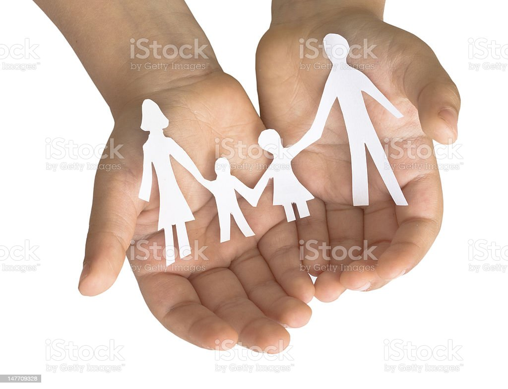 family in the child's hands royalty-free stock photo