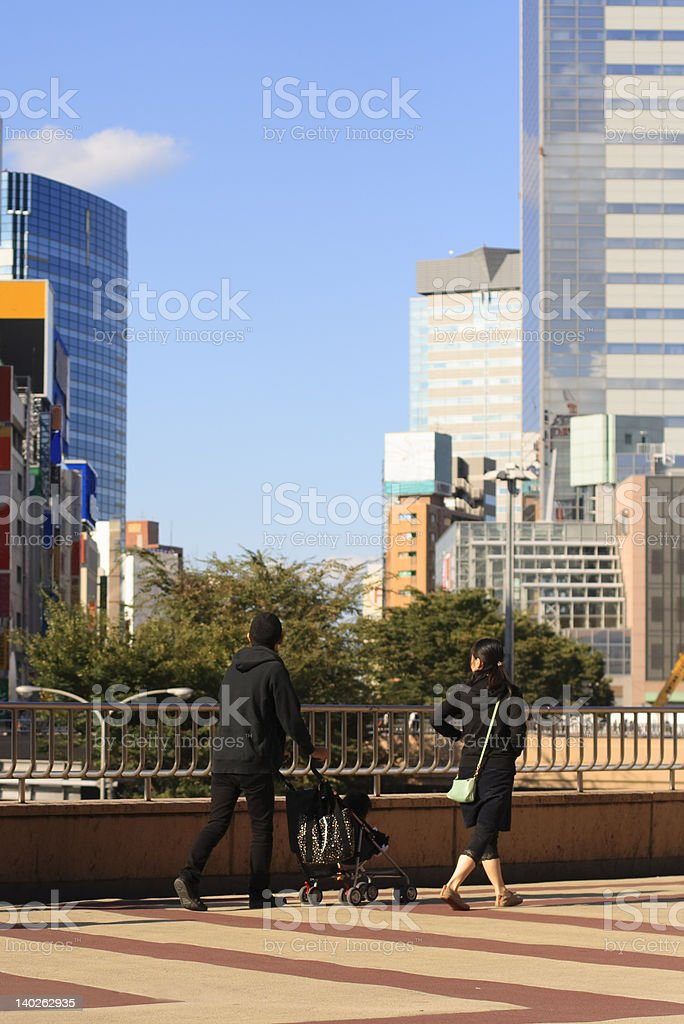 Family in the city royalty-free stock photo