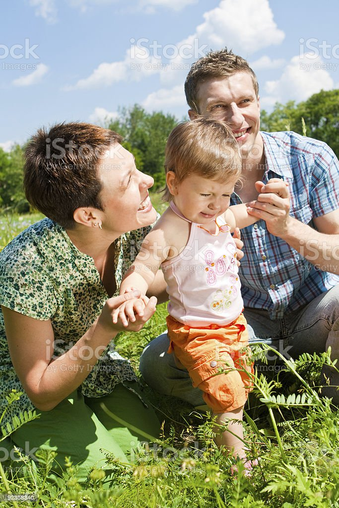 Family in the meadow royalty-free stock photo