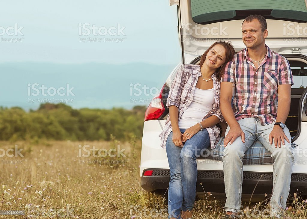 family in the mountains by car royalty-free stock photo