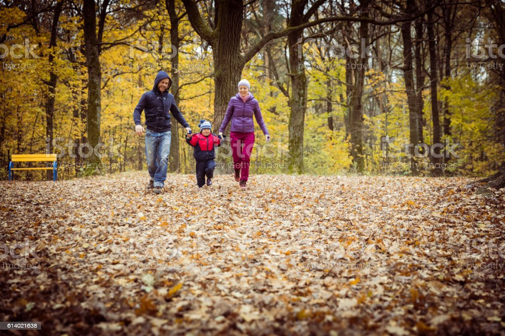 Family in the park in autumn day stock photo
