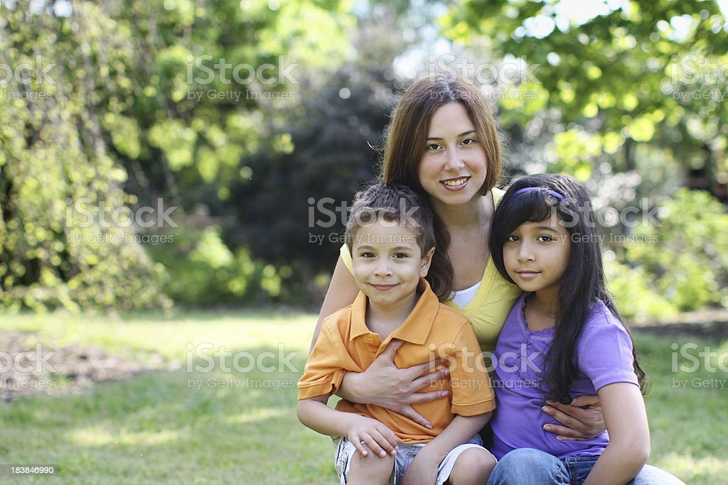 Family in the park stock photo