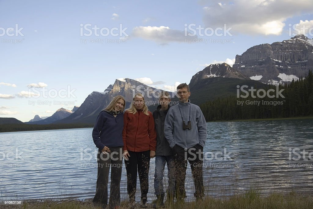 family in the rockies royalty-free stock photo