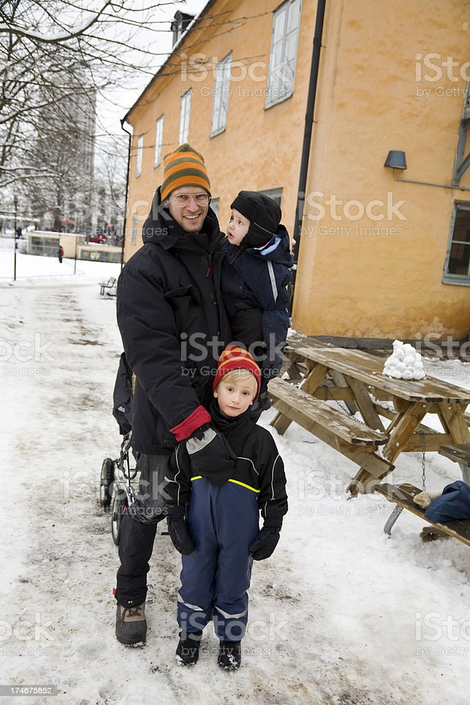 Family in the snow. royalty-free stock photo