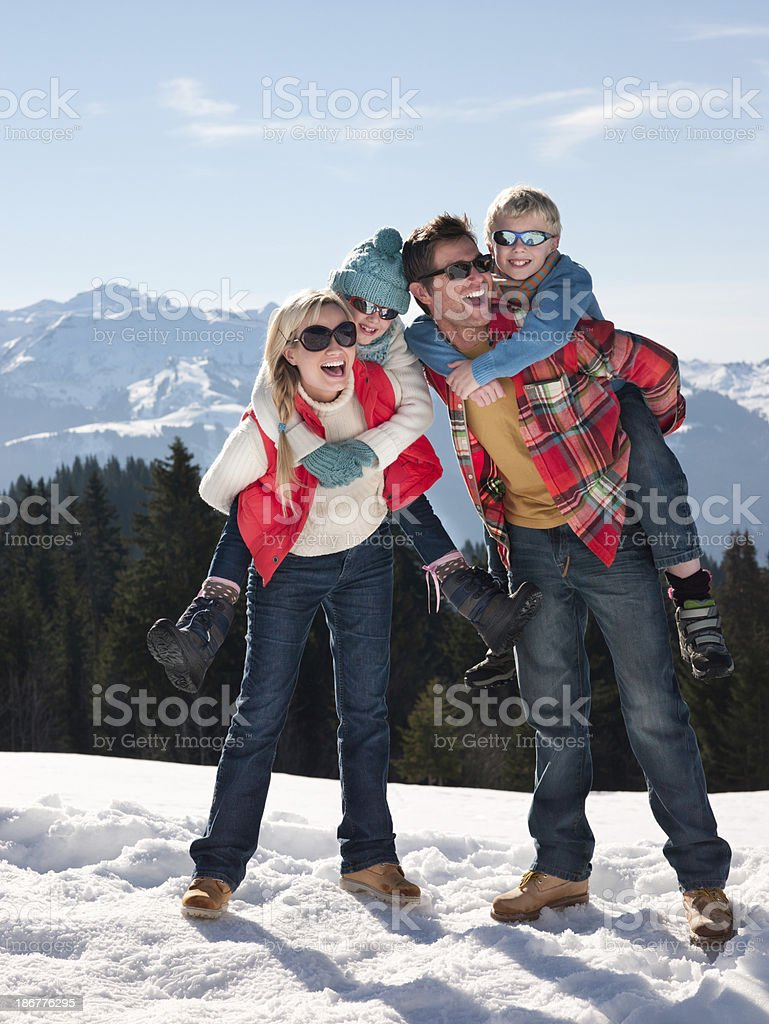 Family In The Snow royalty-free stock photo