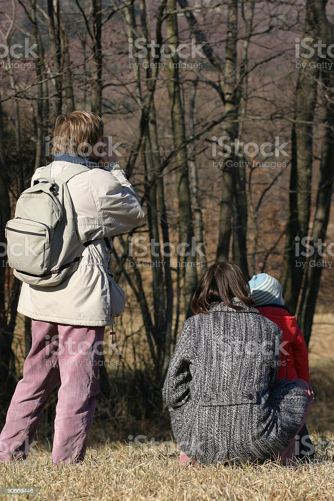 Family in the woods royalty-free stock photo