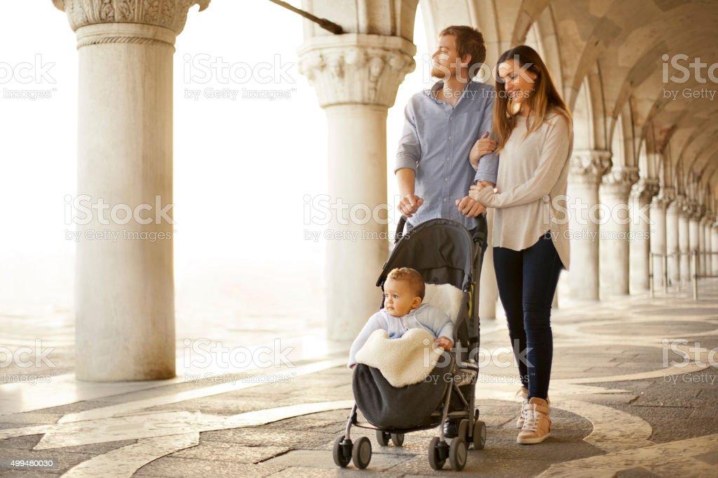Family in Venice stock photo