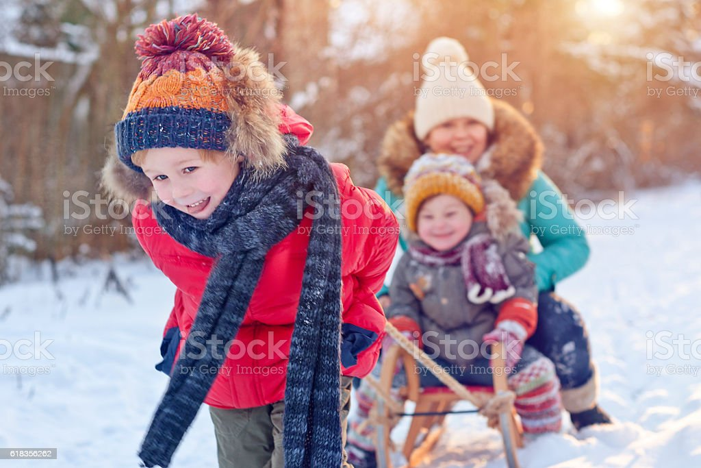 Family in winter stock photo