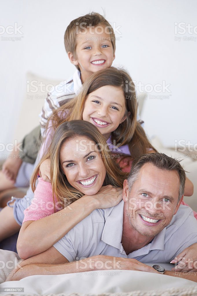 Family is all about balance stock photo