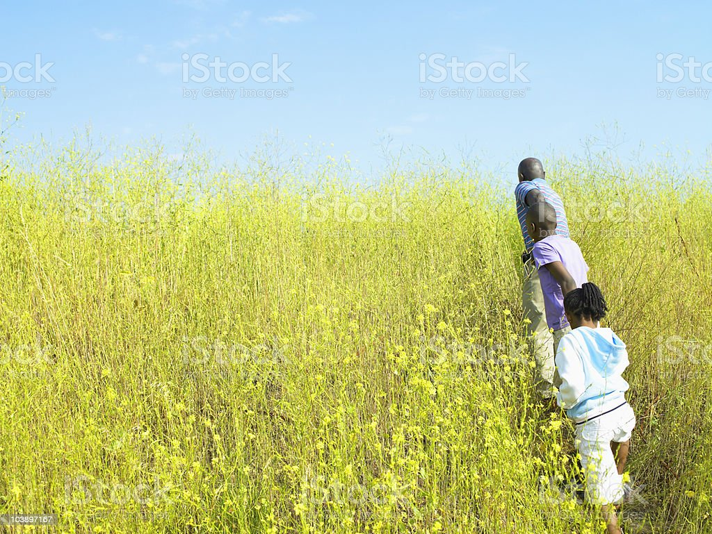 A family is running through a field royalty-free stock photo