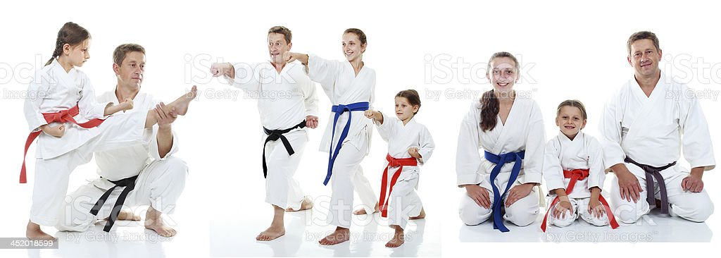 Family karate athletes shows on the white background collage stock photo